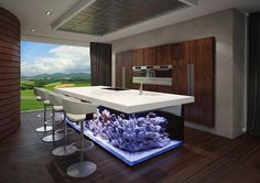 îlot de cuisine fonctionnel et moderne avec un grand aquarium intégré
