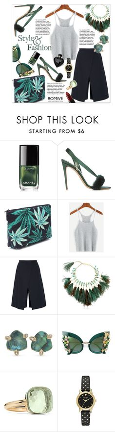 """""""Black Leaf Print Makeup Clutch Bag in Romwe!"""" by ceci-alva ❤ liked on Polyvore featuring Olgana, TIBI, Rosantica, Lonna & Lilly, Dolce&Gabbana, Pomellato, Kate Spade, NARS Cosmetics and Lipsy"""