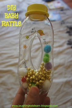 Laughing Kids Learn: DIY Baby Rattle...this type of bottle would be a great sensory bottle for bug.
