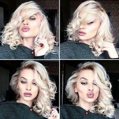 Blonde hair Eyeliner Makeup artist Natural lips Curls