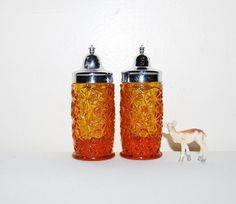 Vintage Salt and Pepper Amber  Shakers by CheekyVintageCloset, $17.50