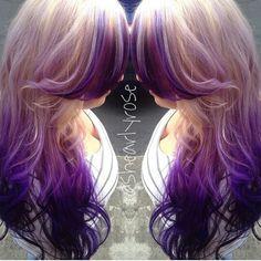 Blonde purple ombre dyed hair @shearlyrose