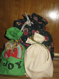 DIY fabric gift bags.  Simplifies wrapping & is environmentally friendly.
