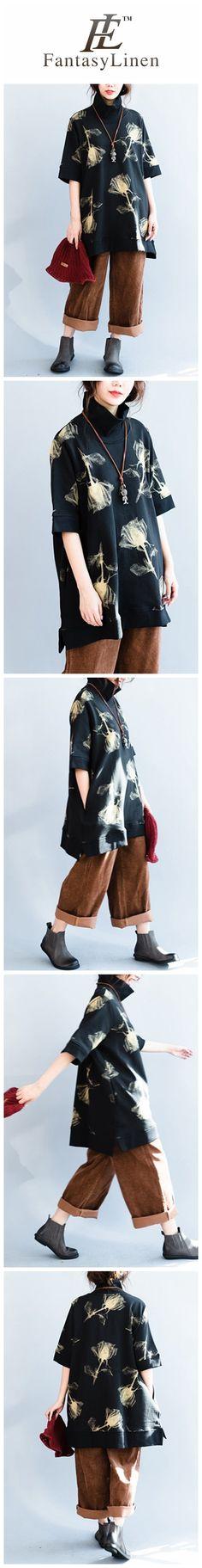 Black Cotton High Collar Loose Fleece Dress Shirts Women Clothes Q7128