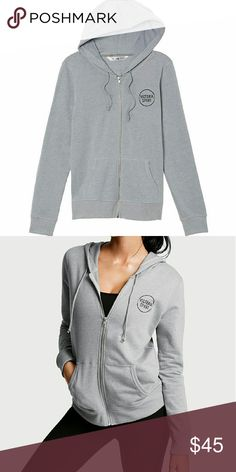 Victoria's Secret Classic Zip Hoodie VSX Your new go-to, cozy as ever in soft fleece with front graphics.  Slightly loose fit Soft and cozy lightweight fleece Hits at waist Front pockets.  The bag ripped a little but still Brand new. Victoria's Secret Tops Sweatshirts & Hoodies