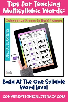 Top 3 Tips for Teaching Multisyllabic Words in the elementary classroom. Hands on digital phonics activities that build fluency with vowel sounds. #phonics #multisyllabicwords #elementary #wordwork #readinginterventions #conversationsinliteracy #secondgrade #thirdgrade #fourthgrade #fifthgrade 2nd grade, 3rd grade, 4th grade, 5th grade