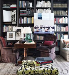 a library in a New York apartment