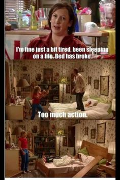 Too much action (Miranda Hart) - where did the bed head and board come from lol? Miranda Hart Funny, Miranda Tv Show, Miranda Hart Quotes, Miranda Bbc, British Humor, British Comedy, Tv Quotes, Movie Quotes, Funny