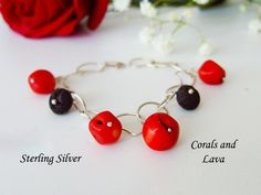 Genuine Red Corals and Lava Bracelet, Sterling Silver Chain Bracelet, Red and Black Bracelet, Real Corals Bracelet Lava Bracelet, Coral Bracelet, Handmade Bracelets, Handmade Gifts, Black Bracelets, Corals, Red Coral, Sterling Silver Chains, Diamond Engagement Rings