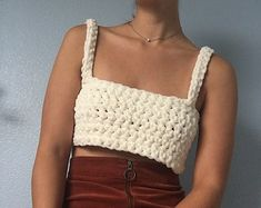 This fuzzy crochet bralette seriously feels like youre wearing a cloud! Super comfy and great for sleep or play Adjustable ties polyester Size S - M Garment Care: - Hand wash and lay flat to dry Mode Crochet, Crochet Yarn, Crochet Tunic, Rainbow Crochet, Crochet Crop Top, Diy Clothing, Crochet Fashion, Crochet Designs, Crochet Clothes