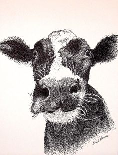 Cow Original Pen and Ink Pointillism Drawing by MYDOTSHOP on Etsy