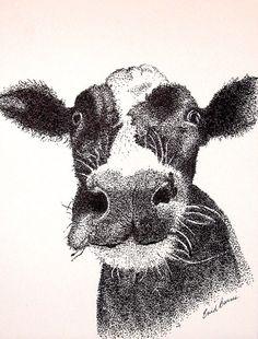 Cow Original Pen and Ink Pointillism Drawing by MYDOTSHOP on Etsy