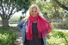 Bonita Brave Knit Lace Scarf with Fringe, FREE Knitting Pattern