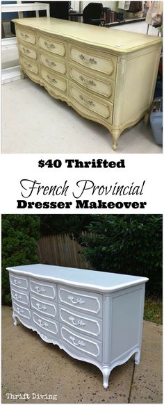 This $40 French Provincial dresser makeover turned out beautiful! Materials: Beyond Paint (Color: Soft Gray), painters tape, brushes, roller, wood filler, sander. Watch its transformation on my YouTube channel. | Thrift Diving
