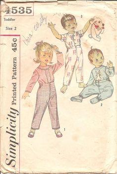 1960s Kids Pajamas  Vintage Pattern Simplicity 4535 by ErikawithaK
