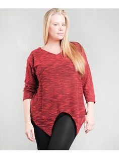 Plus Size Knitted Red Top