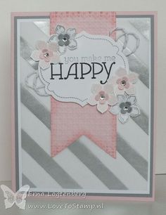 Happy girly card in soft pink & grey