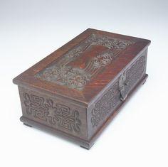 "1901 Arts& Crafts box, Ch Rohlfs, Buffalo, NY, oak/cedar lined, 15"", 05-14. http://www.ebay.com/usr/circa19century"