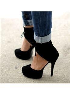 Fashionable Black Suede Ankle Strap Platform Heels