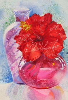 Still Life With Red Hibiscus | Hawaiian Art by Olga Shevchenko