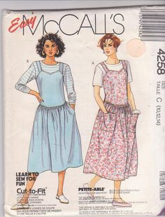 1980s vintage sewing pattern for modest drop by beththebooklady, $9.99