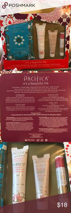 Pacifica Natural Skincare Brand new / In box. Pacifica is vegan and cruelty free. Day and night collection comes with:  Coconut water cleansing wipes, mineral bb cream, dreamy youth day and night cream, natural color quench lip tint in blood orange. pacifica Makeup