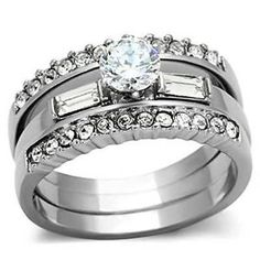 1.43ct Stainless Steel 3 PC CZ Wedding Ring Set by Opt2shop