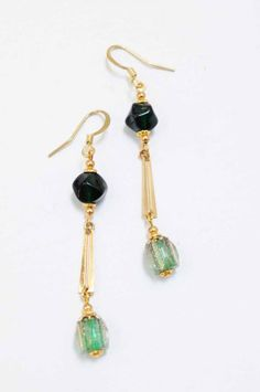 Vintage 1920s bead earrings on gold-plated wires.  Firedrake Jewellery & Antiques.