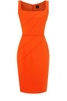 Simple orange sheath dress. #InterviewDress #MissAnaheimOrg