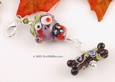 $22  Zek the Zombie Purse Charm - Handmade lampwork art beads, jewelry & supplies by Bastille Bleu Lampwork. $22.00, via Etsy.