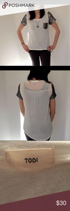 Tobi White Top with Silver Sequin Sleeves Tobi White Top with Silver Sequin Sleeves Size Small Tobi Tops Tees - Short Sleeve