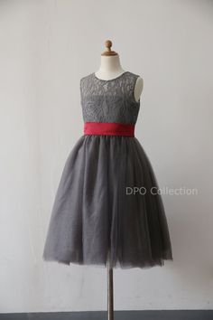 Grey Lace Flower girl Dress Baby Girl Dress with by deepado(I like the lace idea with the sash)