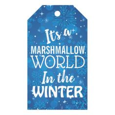 Christmas Marshmallow World Blue Gift Tags - home decor design art diy cyo custom