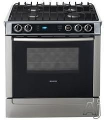 """Bosch HDI7052U 30"""" Slide-In Dual-Fuel Range with Genuine European 3rd Element Convection, Touch & Turn Controls, Full Extension Storage Draw..."""