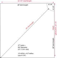 how to draft a handkerchief hem skirt from a circle skirt