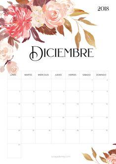 Calendario para imprimir Diciembre 2018 #calendario #calendar #diciembre #december #printable #imprimir #flores #flowers Calendar 2019 Printable, Printable Labels, Printable Planner, Planner Stickers, Free Printables, Planner 2018, Weekly Planner, Bird Crafts, Diy And Crafts