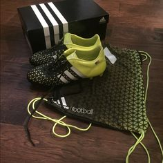 Adidas ACE 15.1 Cleats Solar yellow; men's 7.5// women's 9; amazing cleat; ONLY WORN IN TWO GAMES! Customized American Flag on each side. Comes with bag and box; bottoms fully intact. Adidas Shoes