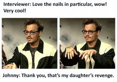 Johnny Depp and his sparkly pink nail polish.