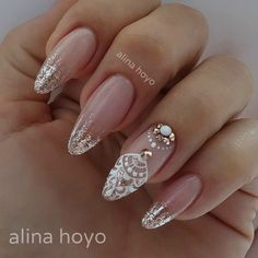 faded french nails With Diamonds - faded french nails With . - faded french nails With Diamonds – faded french nails With Diamonds - Gorgeous Nails, Love Nails, Pretty Nails, French Nails, Mandala Nails, Modern Nails, Wedding Nails Design, Bride Nails, Luxury Nails