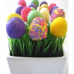 20 Easter Desserts: Easter Egg Cake Pops dipped into white candy melts and sprinkles