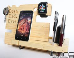 Father's Day Gift Personalized Wooden Dock and Charging Station For iPhone 5, iPhone 6, Mobile, Wallet, Apple Watch, Accessories