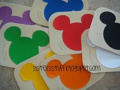 Color flash cards Using Mickey Mouse Paint Samples