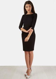Black Asymmetric 3/4 Sleeve Dress