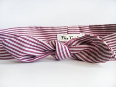 Red Stripes Fabric Headband  Cotton Headband  Bow by FlosCaeli, $10.00