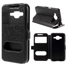 Silk Texture PU Leather Stand Case for Samsung Galaxy Core Prime SM-G360 Dual View Window