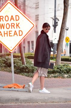 Sparks & Sneaks - Audrey is a Boy – Image: Sparks. #adidas #coats #sequinskirt