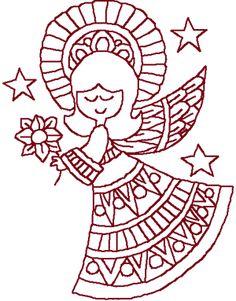 Redwork Christmas Angel