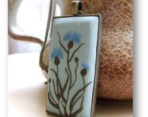 Flower Jewelry- Knapweed Flower Jewelry- Flower Polymer Clay Jewelry- Spring Flower Pendant- Blue, Green- MADE TO ORDER