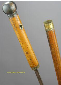 GALERIE JANTZEN,A systèmesCANNE A SYSTEME D' EPEE XVIIIeme Cannes, Dark Wood, Sword, Sticks, Gadgets, Walking, Brass, Steel, Art