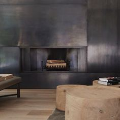 Fireplace, bronze and wood. Interior architecture project in Munich by Studio Liaigre. Interior, Interior Architecture, Contemporary Fireplace, Living Room Decor, Interior Styling, House Interior, Home Interior Design, Fireplace, Christian Liaigre